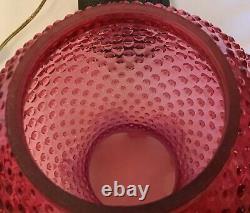 Vintage Fenton Art Verre Cranberry Opalescent Hobnail Lampe Q1