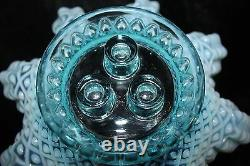 Vintage Fenton Blue Opalescent Diamond Dentelle Epergne