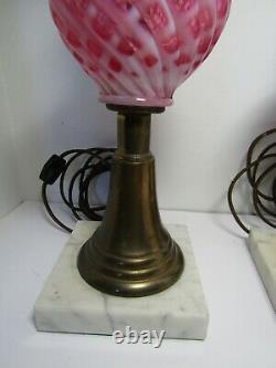 Vintage Fenton Cranberry Diamant Opalescent Lampe Paire Base En Marbre