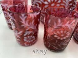 Vintage Fenton Cranberry Opalescent Daisy & Fern Pitcher Avec 7 Verres Nice Set