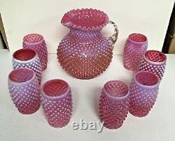 Vintage Fenton Cranberry Opalescent Hobnail Pitcher & 8 Verres