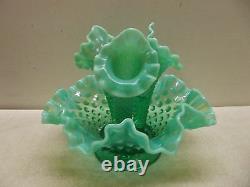 Vintage Fenton Emerald Green Opalescent 3 Horn Hobnail Epergne Vase