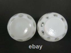 Vintage Fenton Français Opalescent Coin Dot Vanity Set Vers 1940 (#600-5)