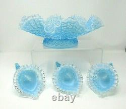 Vintage Fenton Glass Blue Opalescent Diamond Dentelle Epergne 3 Cornes