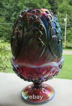 Vintage Fenton Plume Opalescent Carnival Verre Lily De La Vallée Fée Lampe 7