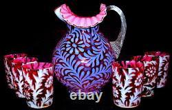 Vintage Fenton Pour L. G. Wright Cranberry Opalescent Daisy & Fern 7 Pc. Set D'eau
