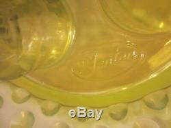 Vintage Fenton Topaz Opalescent Cloutés Vaseline Verre 3 Corne Épergne
