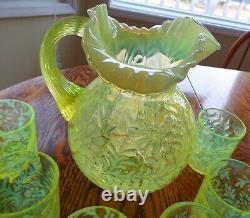 Vintage Fenton Vaseline Glass Topaz Opalescent Daisy - Fern Pattern Pitcher -