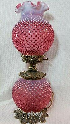 Vintage Gwtw Fenton Cranberry Opalescent Hobnail Table Lampe 23 Tall