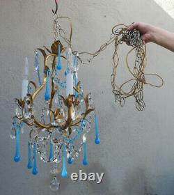 Vintage Lampe À Tole Italie Art Opalin Verre Swag Brass Cristal De Cage D'oiseau Prisms 3lit