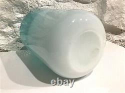Vintage Mid-century Modern Ermanno Nason Murano Art Glass Vase Rayé / Opaline