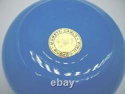 Vintage Murano Carlo Moretti Étiquette Opaline Table D'habillage En Verre Pot +lide