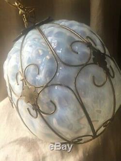 Vintage Murano Opalescent Art En Verre Caged Luminaire Lustre Lampe Suspension