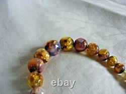 Vintage Opalescent Fire Foil Perle En Verre Art Déco Bohème Collier Tchèque