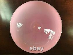Vintage Rose Opaline Opalescent Art Compote Vase Bowl 9