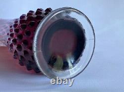 Vtg 11 Fenton Plum Opalescent Hobnail Swung Art Vase En Verre