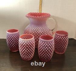 Vtg Fenton Art Verre Opalescent Cranberry Hobnail Pitcher & 4 Tumblers