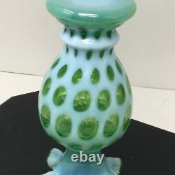 Vtg Rare Fenton Lime Vert Opalescent Rufflé 8.75 Vase Coin Dot