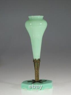Wonderful Rare Vintage Deco Français Verre Jade Jadite Opaline Epergne Vase Vers 1920